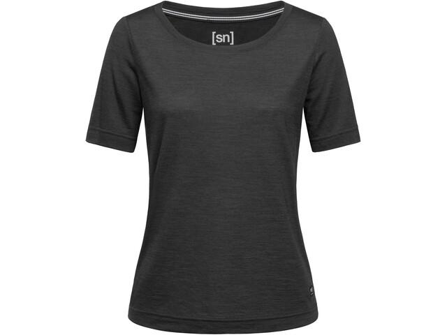 super.natural Essential Scoop Camiseta Mujer, jet black melange
